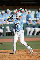 Kyle Datres (3) of the North Carolina Tar Heels at bat against the Kentucky Wildcats at Boshmer Stadium on February 17, 2017 in Chapel Hill, North Carolina.  The Tar Heels defeated the Wildcats 3-1.  (Brian Westerholt/Four Seam Images)