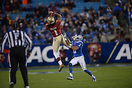 Florida State Seminoles wide receiver Kelvin Benjamin #1 attempts to catch a pass defended by Duke Blue Devils cornerback Ross Cockrell #6 in the 2013 ACC Championship game at the Bank of America Stadium, December 7, 2013. (Photo by Don Baxter/Media Images International)