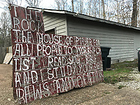 outdoor sign text- the rock-house of prayer-big-8ft x4ft plus top sign 2ft x2ft<br /> <br /> THIS IS PART OF OUR COLLECTION OF MARGARET'S GROCERY AND REV. H.D. DENNIS - ART WORKS in Mississippi Folk Art Foundations Collection <br /> <br /> Ms. Altman is the Founder and Director of the Mississippi Folk Art Foundation a non profit, that is dedicated to preserving Margaret's Grocery. A visionary outdoor folk environment in Vicksburg Mississippi.<br />  to see some of the collection documented by William Arnett in his book Souls Grown Deep volume 2 please see see link below.<br /> <br /> http://www.soulsgrowndeep.org/artist/rev-harmon-d-dennis<br /> <br /> <br /> https://www.gofundme.com/SaveMargaretsGrocery?lang=en-US
