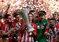 16th May 2018, Stade de Lyon, Lyon, France; Europa League football final, Marseille versus Atletico Madrid; Fernando Torres of Atletico Madrid lifts the Europa League Trophy with his team mates as Atletico Madrid defeat Marseille 3-0
