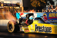 Feb. 17 2012; Chandler, AZ, USA; NHRA top fuel driver Spencer Massey during qualifying for the Arizona Nationals at Firebird International Raceway. Mandatory Credit: Mark J. Rebilas-