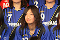 Yuko Shimamura (Speranza), .FEBRUARY 16, 2012 - Football / Soccer : Speranza FC Osaka Takatsuki Press conference at NMB48 Theater in Osaka, Japan. Japanese ladies soccer team Speranza FC Osaka Takatsuki hold a joint press conference with members of NMB48, the Osaka version of the popular AKB48 idol group. Both women's soccer and girls idol groups are hugely popular in Japan after the national team's success at the Womens Soccer World Cup and the growing success of AKB48.