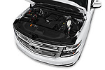 Car stock 2018 Chevrolet Tahoe Premier 2WD 5 Door SUV engine high angle detail view