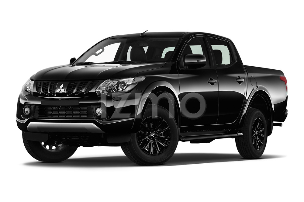 Stock pictures of low aggressive front three quarter view of a 2019 Mitsubishi L200 Black Collection Plus 4 Door Pick Up