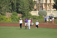 Shane Lowry (IRL) and his team walk down the 10th during the preview for the DP World Tour Championship at the Earth course,  Jumeirah Golf Estates in Dubai, UAE,  18/11/2015.<br /> Picture: Golffile | Thos Caffrey<br /> <br /> All photo usage must carry mandatory copyright credit (&copy; Golffile | Thos Caffrey)