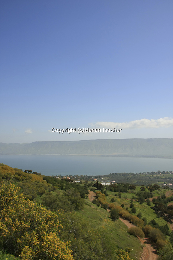 Israel, Lower Galilee. A view of the Sea of Galilee from Mount Poriya