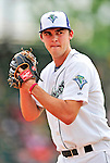 24 July 2010: Vermont Lake Monsters pitcher Matt Swynenberg warms up in the bullpen prior to a game against the Lowell Spinners at Centennial Field in Burlington, Vermont. The Spinners defeated the Lake Monsters 11-5 in NY Penn League action. Mandatory Credit: Ed Wolfstein Photo