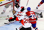 17 October 2009: Ottawa Senators' goaltender Pascal Leclaire gives up a first period goal to the Montreal Canadiens at the Bell Centre in Montreal, Quebec, Canada. The Senators defeated the Canadiens 3-1. Mandatory Credit: Ed Wolfstein Photo