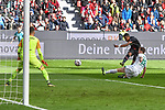17.03.2019, BayArena, Leverkusen, GER, DFL, 1. BL, Bayer 04 Leverkusen vs SV Werder Bremen, DFL regulations prohibit any use of photographs as image sequences and/or quasi-video<br /> <br /> im Bild Strafraumszene . Torchance von Leon Bailey (#9, Bayer 04 Leverkusen) hinter Niklas Moisander (#18, SV Werder Bremen) <br /> <br /> Foto © nph/Mauelshagen
