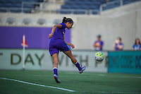 Orlando, FL - Thursday June 23, 2016: Kristen Edmonds prior to a regular season National Women's Soccer League (NWSL) match between the Orlando Pride and the Houston Dash at Camping World Stadium.