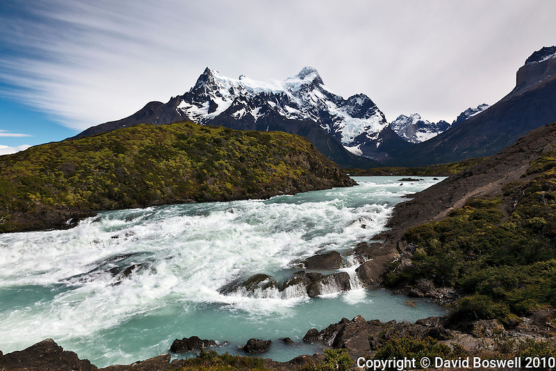 The Rio Paine with Cerro Paine Grande in the background in Torres del Paine, Southern Patagonia, Chile.
