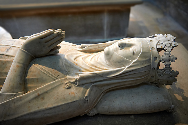 Tomb of Clemence of Hungary (1293 - 1328) daughter of Charles 1st of Hungary and second wife of Louis X le Hutin. The Gothic Cathedral Basilica of Saint Denis ( Basilique Saint-Denis ) Paris, France. A UNESCO World Heritage Site.