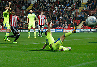 Andreas Weimann of Derby County can't connect with the cross during the Sky Bet Championship match between Brentford and Derby County at Griffin Park, London, England on 26 September 2017. Photo by Carlton Myrie / PRiME Media Images.