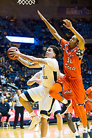 Morgantown, WV - NOV 18, 2017: West Virginia Mountaineers forward Teddy Allen (13) goes up to the basket guarded by Morgan State Bears forward David Syfax (32) during game between West Virginia and Morgan State at WVU Coliseum Morgantown, West Virginia. (Photo by Phil Peters/Media Images International)