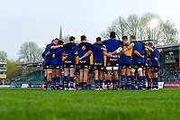 The Bath United team huddle together during the pre-match warm-up. Premiership Rugby Shield match, between Bath United and Gloucester United on April 8, 2019 at the Recreation Ground in Bath, England. Photo by: Patrick Khachfe / Onside Images