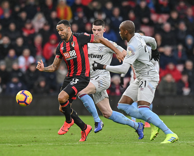 Bournemouth's Callum Wilson (left) under pressure West Ham United's Declan Rice & Angelo Ogbonna<br /> <br /> Photographer David Horton/CameraSport<br /> <br /> The Premier League - Bournemouth v West Ham United - Saturday 19 January 2019 - Vitality Stadium - Bournemouth<br /> <br /> World Copyright © 2019 CameraSport. All rights reserved. 43 Linden Ave. Countesthorpe. Leicester. England. LE8 5PG - Tel: +44 (0) 116 277 4147 - admin@camerasport.com - www.camerasport.com