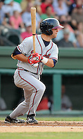 Infielder Tommy La Stella (22) of the Rome Braves, Class A affiliate of the Atlanta Braves, in a game against the Greenville Drive on July 18, 2011, at Fluor Field at the West End in Greenville, South Carolina. (Tom Priddy/Four Seam Images)