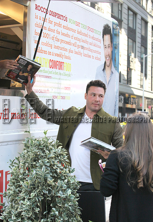Chef Rocco Dispirito promotes his new book 'Now Eat This! Italian' on Good Morning America in Times Square on Tuesday, Sept. 25, 2012 in New York.