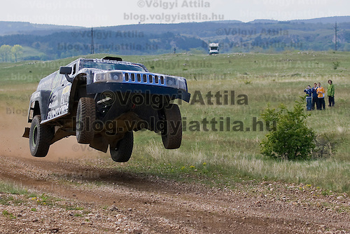 Robby Gordon and Andy Grider from the USA race during the Dakar Series - Central Europe Rally held near Veszprem.