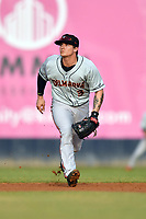 Delmarva Shorebirds shortstop Cadyn Greiner(3) reacts to the ball during a game against the Asheville Tourists at McCormick Field on May 4, 2019 in Asheville, North Carolina. The Shorebirds defeated the Tourists 4-0. (Tony Farlow/Four Seam Images)