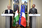 Palestinian Prime Minister Rami Hamdallah and French Prime Minister Edouard Philippe hold a joint press conference at the Hotel Matignon in Paris, on December 7, 2018. Photo by Prime Minister Office