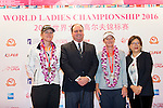 Celine Herbin of France (left) and Gwladys Nocera of France (second from right) receive the team runners-up medal from the hands of Iain Roberts (second from left) and Jennifer Lee (right) during the Prize giving ceremony of the World Ladies Championship 2016 on 13 March 2016 at Mission Hills Olazabal Golf Course in Dongguan, China. Photo by Victor Fraile / Power Sport Images