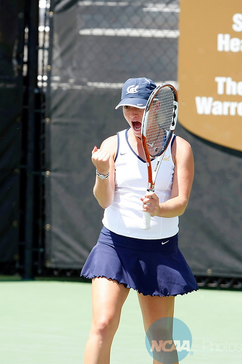 20 MAY 2008:  Marina Cossou of the University of California-Berkeley celebrates a point against UCLA during the Division l Women's Tennis Championship held at the Michael D. Case Tennis Center in Tulsa, OK.  Marina Cossou of Cal played Tracy Lin in second singles.  Stephen Pingry/NCAA Photos