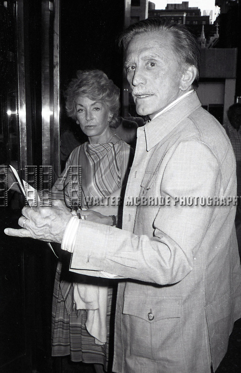 Kirk Douglas and his wife Ann Burdens attending a Broadway show on June 1, 1981 in New York City.