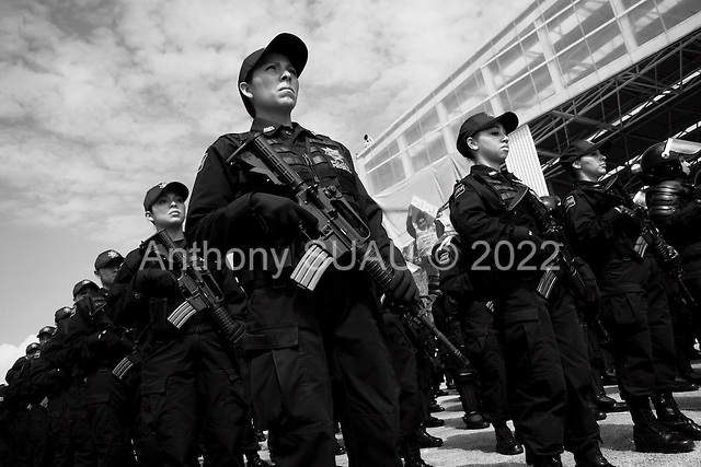 Mexico City, Mexico<br /> June 16, 2008<br /> <br /> Federal police line up during the opening ceremony of a new federal police center. The first of ten scheduled to open around the country.