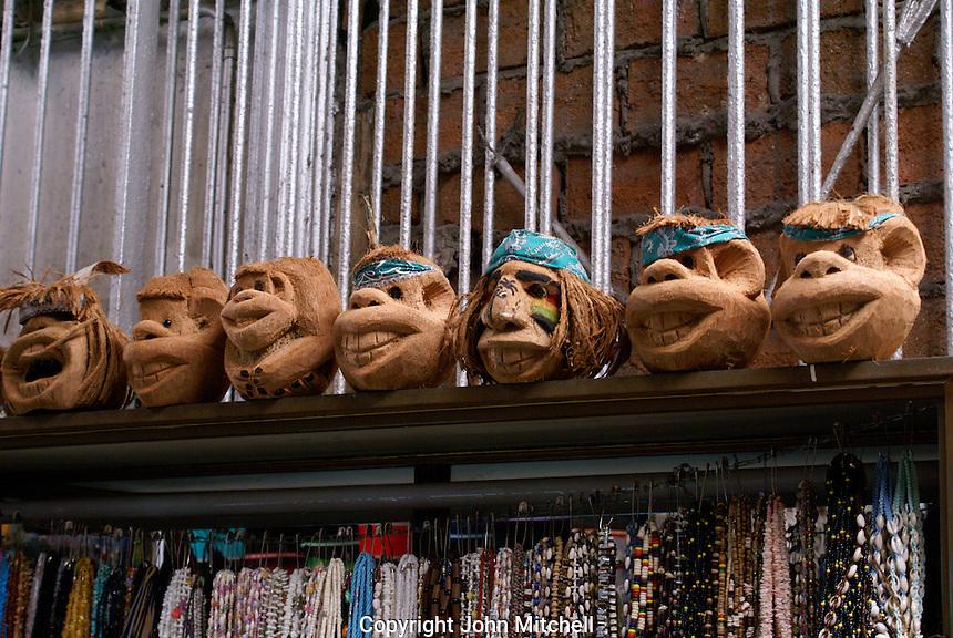 Humorous carved coconuts in the Mercado Pino Suarez market, Mazatlan, Sinaloa, Mexico