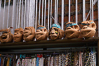 Humorous carved coconuts in the Mercado Pino Suarez market, Mazatlan, Sinaloa, Mexico