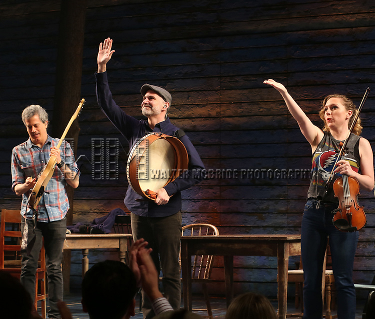 """Band members  Alec Berlin, Romano Di Nillo and Caitlin Warbelow  during the """"Come From Away"""" Broadway Opening Night Curtain Call at the Gerald Schoenfeld Theatre on March 12, 2017 in New York City."""