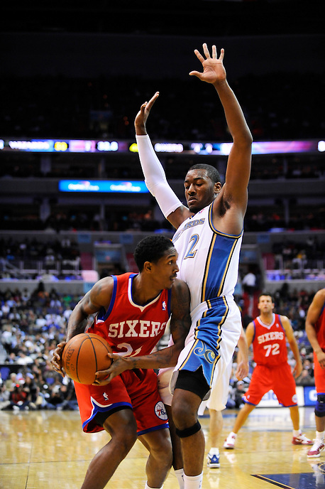John Wall of the Wizards defends the baseline against Lou Williams of the 76ers. Washington defeated Philadelphia 116-115 during the home season opener at the Verizon Center in Washington, DC on Tuesday, November 2, 2010. Alan P. Santos/DC Sports Box