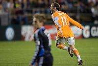 28 March 2009: Brad Davis of Dynamo celebrates after scoring a goal during the game against the Earthquakes at Buck Shaw Stadium in Santa Clara, California.  San Jose Earthquakes defeated Houston Dynamo, 3-2.