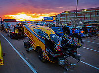 Apr 20, 2018; Baytown, TX, USA; The sun sets behind the car of NHRA funny car driver J.R. Todd during qualifying for the Springnationals at Royal Purple Raceway. Mandatory Credit: Mark J. Rebilas-USA TODAY Sports