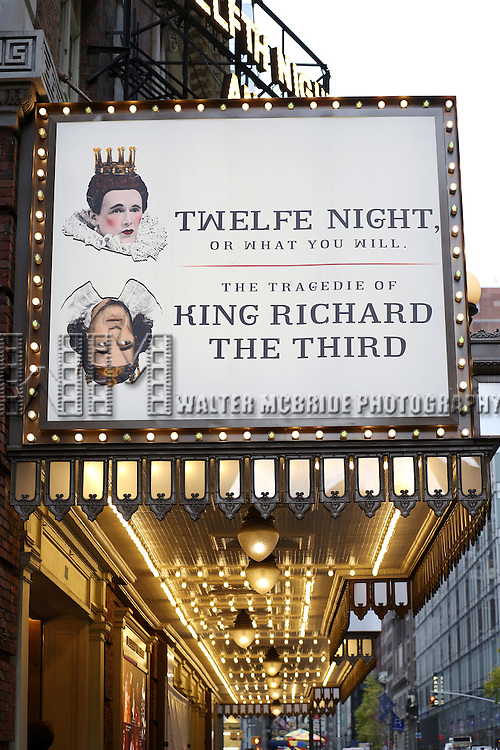Theatre Marquee for the Broadway Opening Night Performance of 'Richard III' at the Belasco Theatre on November 10, 2013 in New York City.