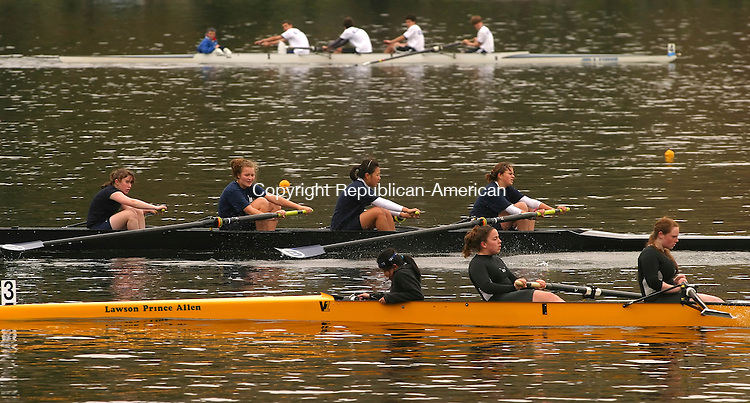 WASHINGTON, CT- 04 MAY 2008 --050408JS08-A pair of  boats make their way across the finish line as anoth boak heads to the the starting line during the annual Founder's Day Regatta on Lake Waramaug in Washington on Sunday. The event was hosted by the Gunnery in Washington. <br /> Jim Shannon / Republican-American