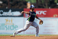Vermont Lake Monsters second baseman Jesus Lopez (2) throws to first during a game against the Batavia Muckdogs August 9, 2015 at Dwyer Stadium in Batavia, New York.  Vermont defeated Batavia 11-5.  (Mike Janes/Four Seam Images)