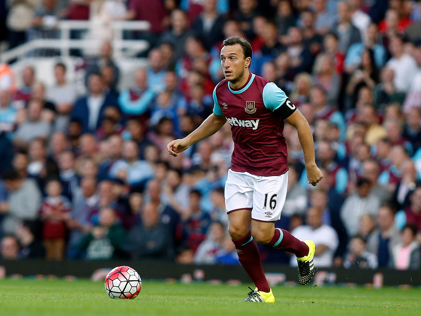 West Ham United's Mark Noble in action<br />  <br /> Photographer Kieran Galvin/CameraSport<br /> <br /> Football - UEFA Europa League Qualifying Third Round First Leg - West Ham United v Astra Giurgiu - Thursday 30 July 2015 - Boleyn Ground - London<br /> <br /> &copy; CameraSport - 43 Linden Ave. Countesthorpe. Leicester. England. LE8 5PG - Tel: +44 (0) 116 277 4147 - admin@camerasport.com - www.camerasport.com