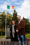 Bridget McAuliffe and Owen O'Shea in Pierce Park,Tralee with the monument of Padraig Pierce wiil be apperaing at The Revolutionary Decade Roadshow on 3rd of October at Kerins O'Rahillys club house. looking for old Photo's and stories for a book called  Kerry 2016 Histories and Legacies of the 1916 Rising.