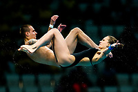 Picture by Rogan Thomson/SWpix.com - 15/07/2017 - Diving - Fina World Championships 2017 -  Duna Arena, Budapest, Hungary - Luliia Timoshinina and Viktor Minibaev of Russia compete in the Mixed 10m Synchro Platform Final.