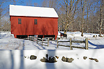 A Horse Farm on a Sunny and Snowy Winter Day in New Hampshire