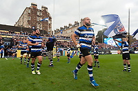 Tom Dunn and the rest of the Bath Rugby team run out onto the field. Aviva Premiership match, between Bath Rugby and Gloucester Rugby on October 29, 2017 at the Recreation Ground in Bath, England. Photo by: Patrick Khachfe / Onside Images
