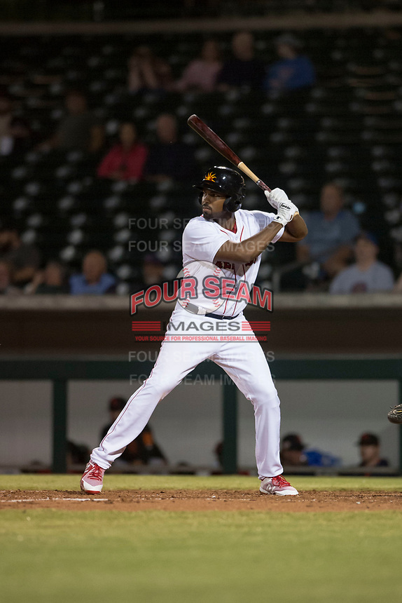 Mesa Solar Sox first baseman Josh Ockimey (28), of the Boston Red Sox organization, at bat during an Arizona Fall League game against the Scottsdale Scorpions at Sloan Park on October 10, 2018 in Mesa, Arizona. Scottsdale defeated Mesa 10-3. (Zachary Lucy/Four Seam Images)