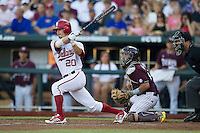 Indiana Hoosiers outfielder Casey Smith (20) delivers an RBI single to center field in the second inning against the Mississippi State Bulldogs during Game 6 of the 2013 Men's College World Series on June 17, 2013 at TD Ameritrade Park in Omaha, Nebraska. The Bulldogs defeated Hoosiers 5-4. (Andrew Woolley/Four Seam Images)