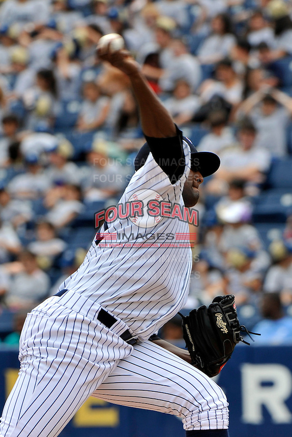 Staten Island Yankees pitcher Wilton Rodriguez #54 during a game against the Tri-City  Valley Cats at Richmond County Bank Ballpark at St. George on July 25, 2011 in Staten Island, NY.  Staten Island defeated Tri-City 2-1.  Tomasso DeRosa/Four Seam Images