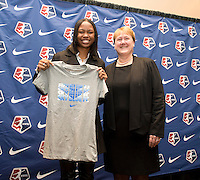 #6 overall pick Maya Hayes of Sky Blue FC stands with NWSL commissioner Cheryl Bailey during the NWSL draft at the Pennsylvania Convention Center in Philadelphia, PA, on January 17, 2014.