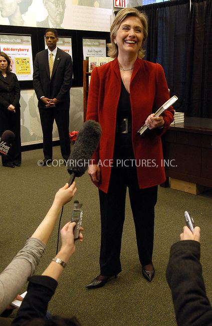 WWW.ACEPIXS.COM . . . . . ....December 18, 2006, New York City. ....U.S. Senator Hillary Rodham Clinton Signs Copies of her New Book 'It takes a Village and Other Lessons Children Teach Us' at Barnes & Noble Store.  ....Please byline: KRISTIN CALLAHAN - ACEPIXS.COM.. . . . . . ..Ace Pictures, Inc:  ..(212) 243-8787 or (646) 769 0430..e-mail: info@acepixs.com..web: http://www.acepixs.com