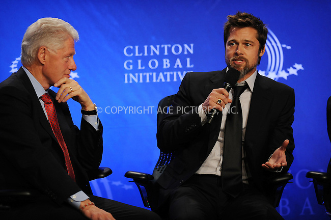 WWW.ACEPIXS.COM . . . . . ....September 24 2009, New York City....Bill Clinton and Brad Pitt at the Clinton Global Initiative on September 24 2009 in New York City....Please byline: KRISTIN CALLAHAN - ACEPIXS.COM.. . . . . . ..Ace Pictures, Inc:  ..tel: (212) 243 8787 or (646) 769 0430..e-mail: info@acepixs.com..web: http://www.acepixs.com