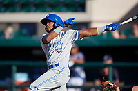 Dunedin Blue Jays Jesus Navarro (10) at bat during a Florida State League game against the Lakeland Flying Tigers on May 18, 2019 at Publix Field at Joker Marchant Stadium in Lakeland, Florida.  Dunedin defeated Lakeland 3-2 in eleven innings.  (Mike Janes/Four Seam Images)